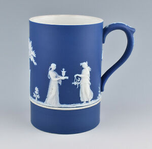 Early Wedgwood Jasperware Cobalt Blue Dip Tankard c.1894