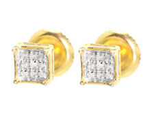 Yellow Gold Finish Mens Ladies 5mm Round Diamond Prong Mini Stud Earrings 1/20ct