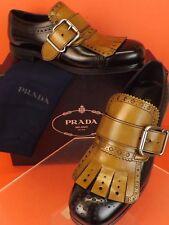 NIB PRADA BLACK TOBACCO LEATHER FRINGE BROGUE BUCKLE DRESS LOAFERS 7.5 US 8.5
