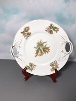 "Vintage Holiday Porcelain Cookie Dish w/Handles 11"" Circa 1940's"