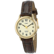 Timex Womens Wrist Watch Leather Strap Band Analog Display Gold Plated Ladies