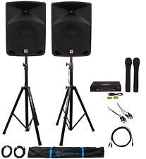 "Rockville Powered Dual 10"" ipad/iphone/Android/Laptop Karaoke Machine/Pro System"