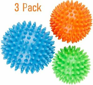 3 Set Trigger Point Massage Ball Set Spiky PVC Roller Balls Pain Relief Pilates