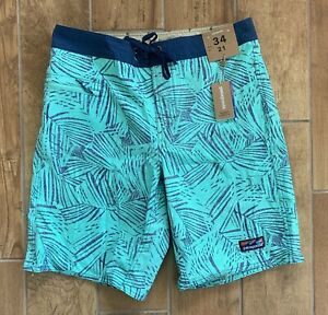 "New Authentic Mens Patagonia Palm 21 "" Board Shorts Surf Vjosa Green Sz 34 $69"