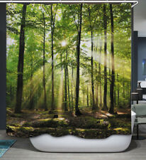 Nature Trees Sunlight Fabric SHOWER CURTAIN 70x70 w/Hooks Forest Woods