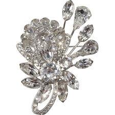Eisenberg 1950s Vintage Clear Rhinestone Floral Brooch Pin Designer Jewelry