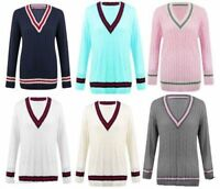 ST53 Womens Cable Knitted Long Sleeve Cricket Jumper V Neck Pullover Sweater Top