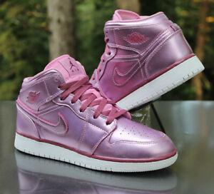 Nike Air Jordan 1 Mid SE Pink Rose Size 7Y White AV5174-640