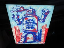 PABST BLUE RIBBON BEER SIGN LED LIGHT ART ROBOT CRUSHING CAR MILWAUKEE BREWERY