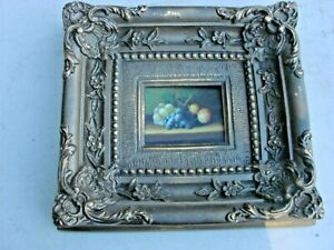 Antique Vintage Small Oil Painting Still Life on Wood, Framed