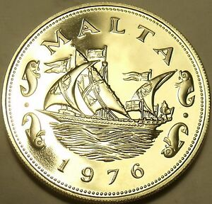 Large Rare Proof Malta 1976 10 Cents~Barge Of The Grand Master~26k Minted~Fr/Shi