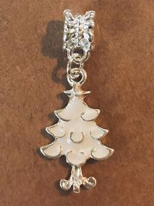 WHITE Christmas TREE European Dangle Bead Charm Silver XMAS Enamel