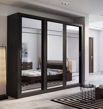 Brand New Modern Bedroom 3 Sliding Door Mirror Wardrobe ARTI 2 250cm in Black