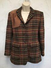 Vintage Ralph Lauren Hunting Shooting Wool Plaid Jacket Blazer Leather Patch 4