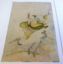 RARE Antique 1800 Signed Japanese ASIAN Woodblock Surimono Crane Sho Gauffrage