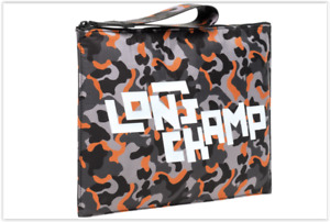 NEW Longchamp Paris Logo Camouflage Zip A4 Pouch,  Made in France