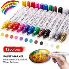 12PCS Waterproof Permanent Paint Marker Pen Car Tyre Tire Tread Rubber Metal pen