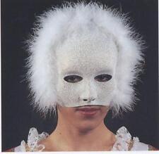 Demi masque vénitien blanc pailleté argenté et marabout blanc 0203 carnaval fete
