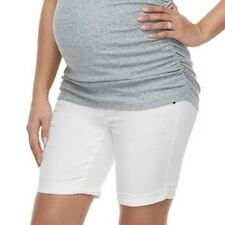 Maternity a:glow Bermuda Jean Shorts Size 16 White Full Belly Panel 5 Pockets
