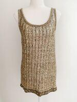 Vintage Chloé Silk Gold Sequin Mini Dress T1 chloe