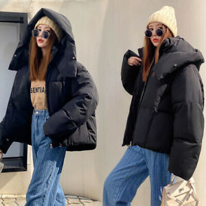 Womens Hooded Short Korean Style Loose Fit Cotton Padded Jackets Coats Overcoats