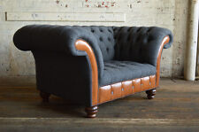 MODERN SLATE GREY & VINTAGE TAN LEATHER CHESTERFIELD SNUGGLE CHAIR, LOVE SEAT