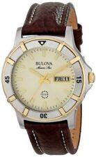 Bulova Men's 98C71 Marine Star 100M Brown Leather Stainless Steel Quartz Watch