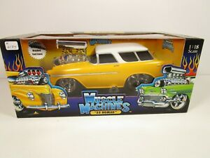 MUSCLE MACHINES 1/18 YELLOW/WHITE 1955 CHEVY NOMAD BEL AIR HOT ROD NEW *READ*