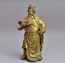 Rare Chinese bronze brass Dragon Warrior Guan Gong guan yu statue