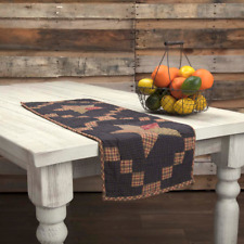 "Rustic Farmhouse ARLINGTON Quilted Cotton Patchwork Star 36"" Table Runner"