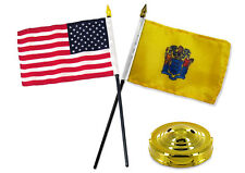 """New Jersey State w/ USA America American Flag 4""""x6"""" Desk Set Table Gold Base"""