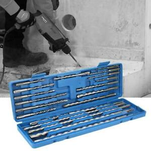 20PC Rotary Hammer Drill Bits Chisels Kit SDS Plus Concrete Tool w/Case USA