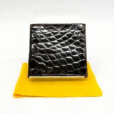 Authentic Genuine Crocodile Leather Bifold Wallet Purse Black Brown Men Italy