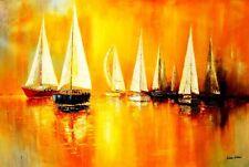 """Los barcos de vela en un lago 48x72 """"Pintura Al Óleo"""