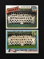 BALTIMORE ORIOLES UNMARKED TOPPS 1980 & 1981 TEAM EARL WEAVER BASEBALL CARDS