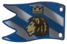 LEGO Castle - Blue Plastic Flag with Lion with Crown Pattern, Large (Horizontal)