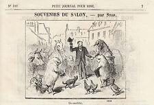 Gravure ancienne 1880  souvenirs du salon  par Stop XIXème