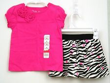 Girls Outfit Pink Top Zebra Print Skort Scooter Sz 2T Hearts Jumping Beans NWT