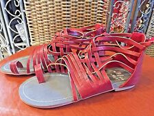 NEW MISS ME GLADIATOR SANDALS FAUX Brown Leather Cruise Boho Babe Festival 5.5