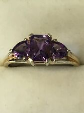9ct Yellow Gold Amethyst Ring Size R