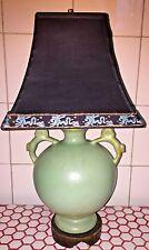 Vintage 1940s 50s Blue Chinese Horses Ginger Pot Vase Urn Pagoda Shade Lamp