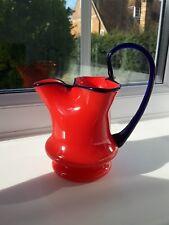 Vintage Bohemian/Czech unusual  red tango art glass jug. C1930's