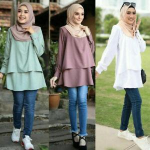 Muslim Women Lady Long Sleeve Blouse Top Islamic Abaya Tops Dress Loose Casual