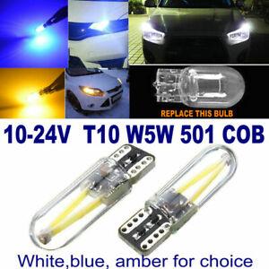 2x T10 Car LED Bulbs 3W COB W5W 501 Side Light Glass License Plate Light 12-24V