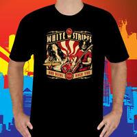 The White Stripes Concert Tour Logo Rock Band Men's Black T-Shirt Size S to 3XL