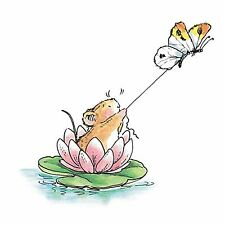 Water Lily Skiing Mouse, Wood Mounted Rubber Stamp PENNY BLACK - NEW, 2063K