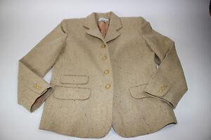 CHAUS Size 6 Women's L/S Tan Herringbone Tweed 100% Lambswool 4 Button Blazer