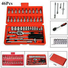 46Pcs Socket Set 1/4'' Car Repair Ratchet Torque Wrench Kit Hand Tools with Box