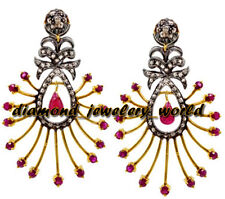 Estate Victorian 2.67cts Rose Cut Diamond Jewelry Ruby Studded Silver Earring