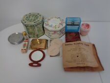 JUNK DRAWER LOT AVON ITEMS VERSACE ITEM COASTERS SHEEPSKIN PURSE, COMPACT ETC.
